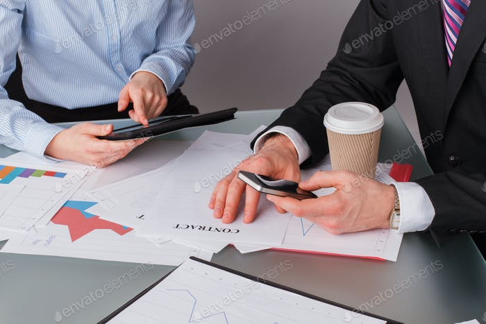 People, business, finance and modern technology concept.