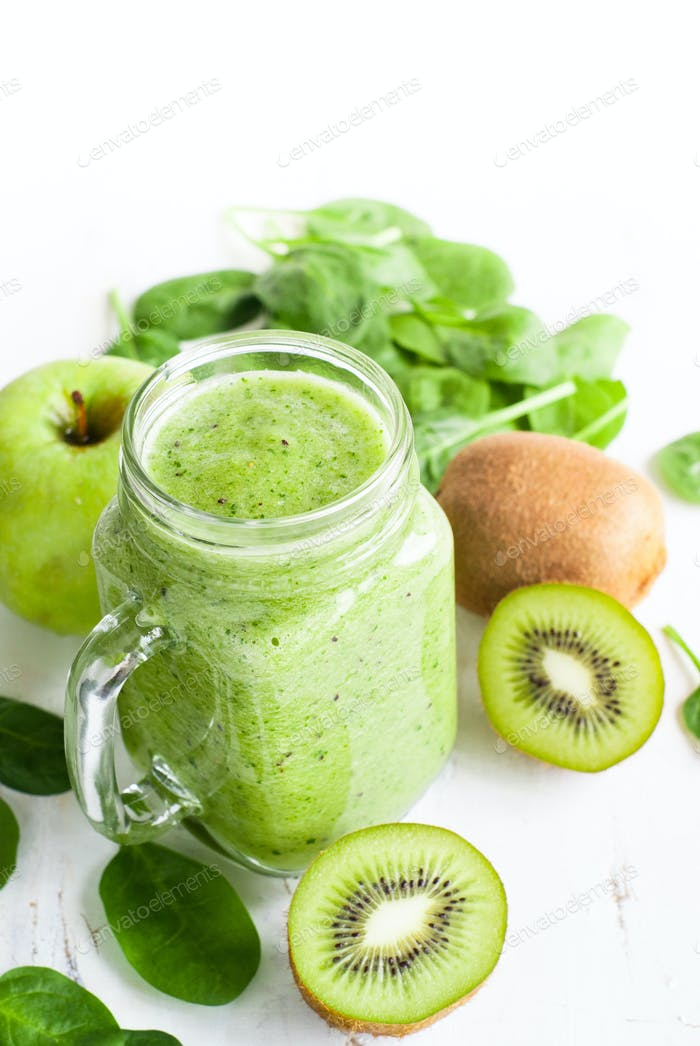 Healthy green smoothie in jar.
