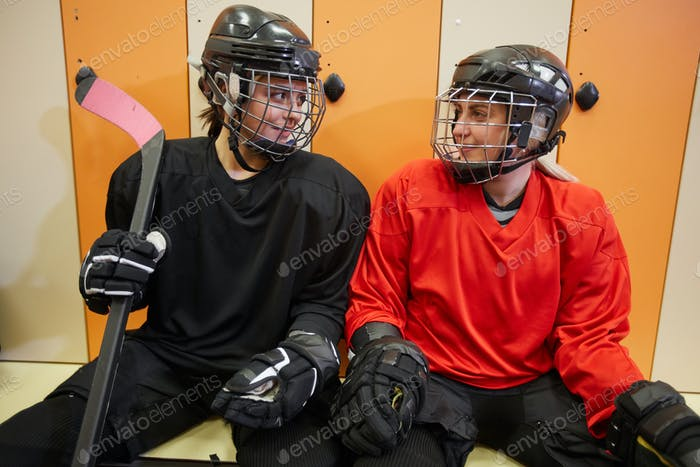 Cheerful Female Hockey Players