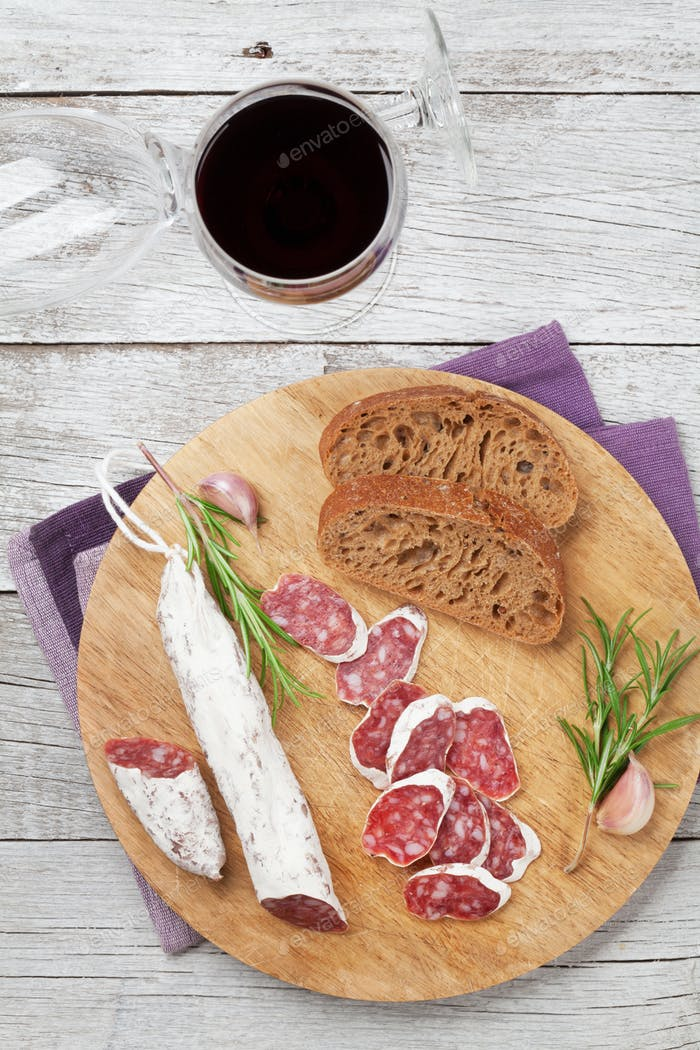 Salami, bread and wine