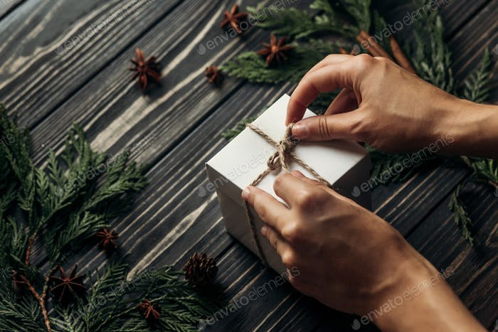 Hands holding christmas simple present box