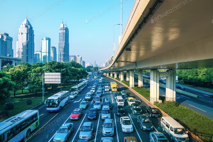 city traffic in morning