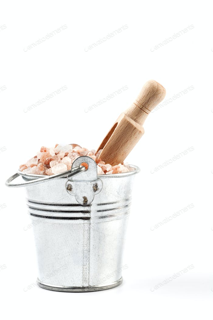 Isolated Scoop in Bucket of Salt