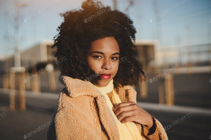 Portrait of a girl outdoors, winter