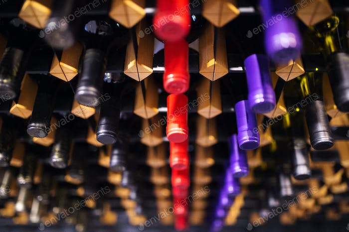 Wine bottles on a shelf