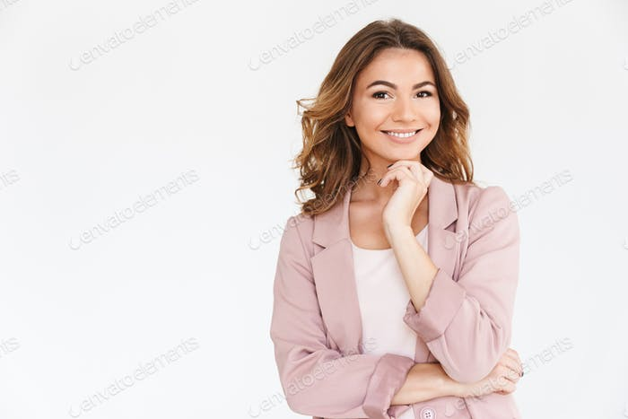 Amazing young pretty woman over white wall background