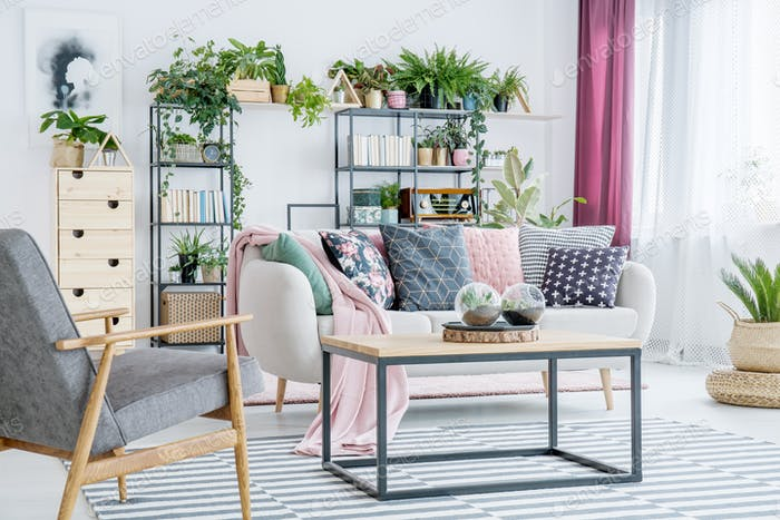 Floral living room interior