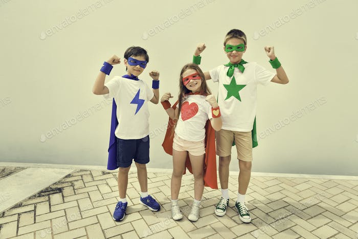Superhero Boy Girl Brave Imagination Concept