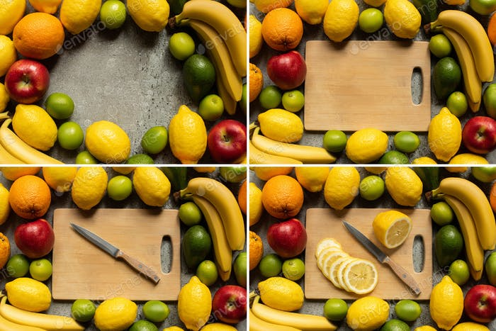 Tasty Colorful Fruits And Wooden Cutting Board With Lemon Slices And Knife on Grey Concrete Surface