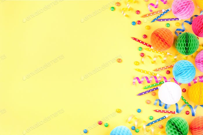 Birthday Party Background on Yellow.