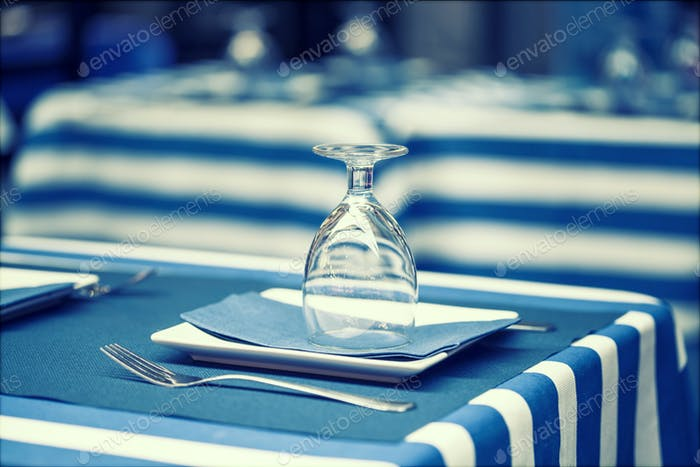 Glasses on a dining table - sailor styled terrace