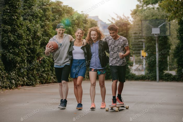 Multiracial group of people enjoying a walk
