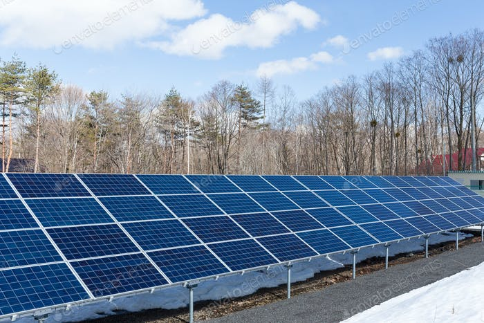 Solar panel station in countryside