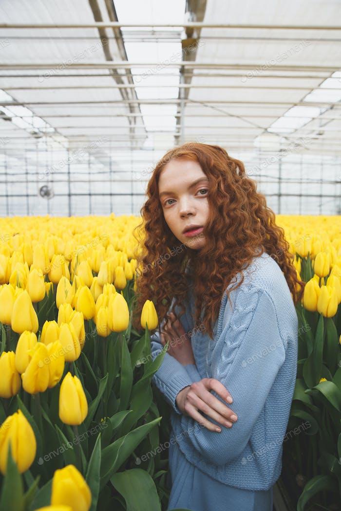Wonderful lady standing between tulpis