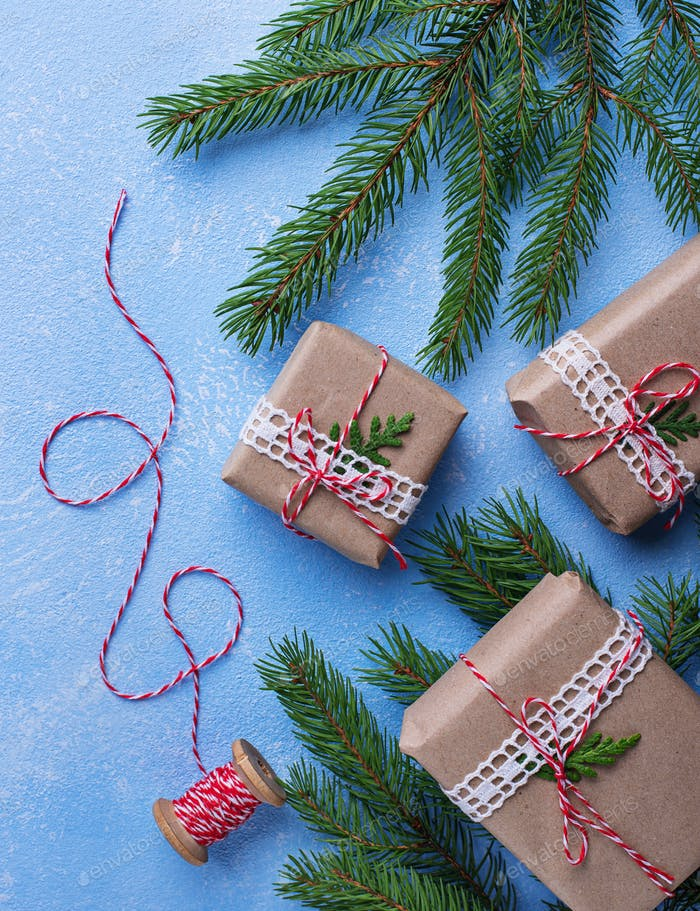 Christmas gift boxes and stripped thread