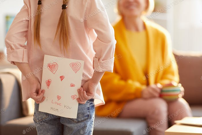 Girl Hiding Handmade Card