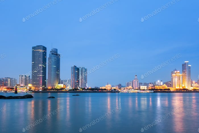 xiamen skyline in nightfall