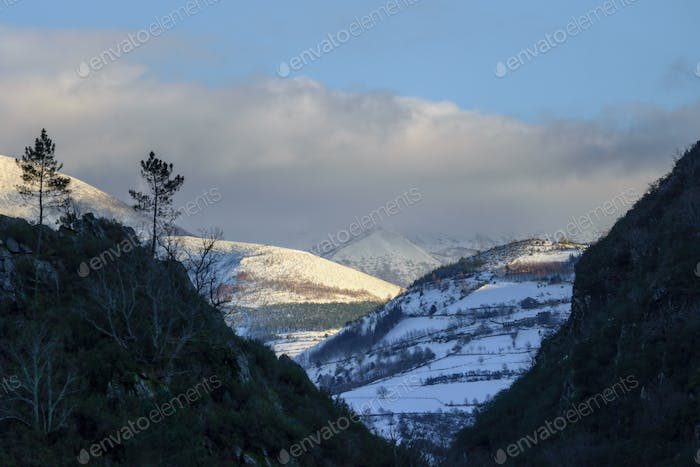 Snowy mountains and canyons