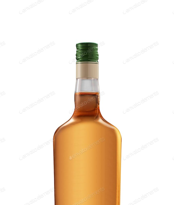 Full whiskey bottle isolated on white