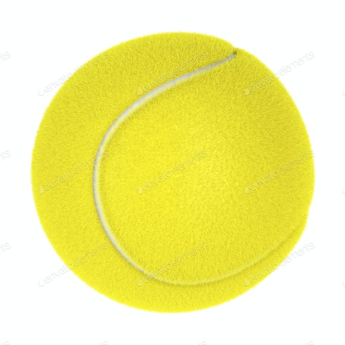 Tennis ball on white