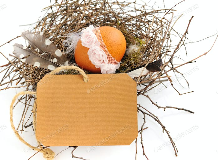 Easter egg with a blank form for greetings on a white background