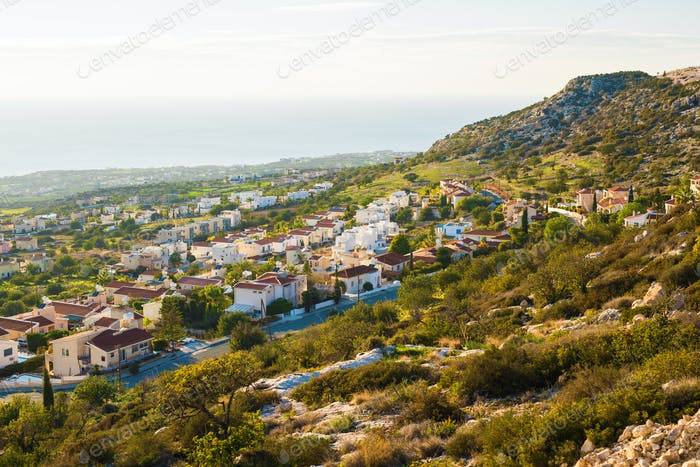 panoramic view of the village in Cyprus.
