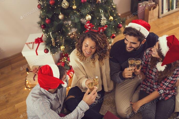 Christmas celebratory champagne toast