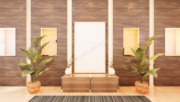 3D living room and furniture with blank photo frame
