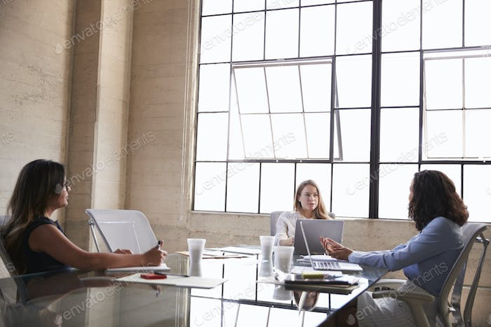 Three businesswomen in discussion in a meeting room