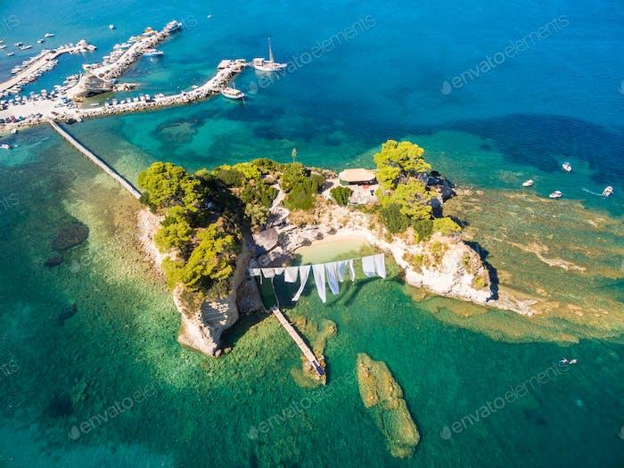 Luftaufnahme der Insel Cameo auf der Insel Zakynthos (Zante), in Gree