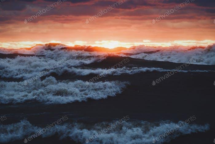 Violent waves at sunset