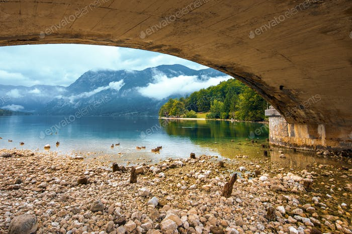 Bohinj lake view from under the bridge
