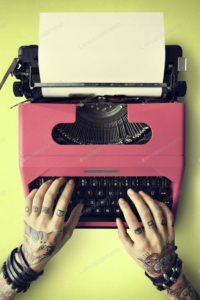 Tattoo Typewriter Machine Letter Journalism Concept