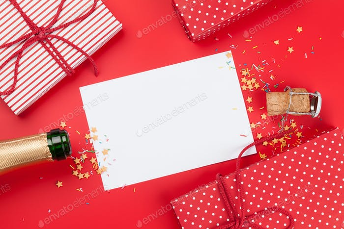 Champagne bottle card holiday template