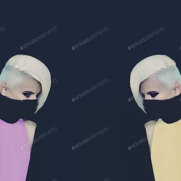 Two Blondes ninja style. Fashion original photo