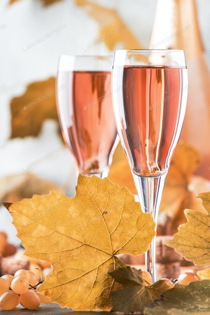 Rose pink champagne glasses