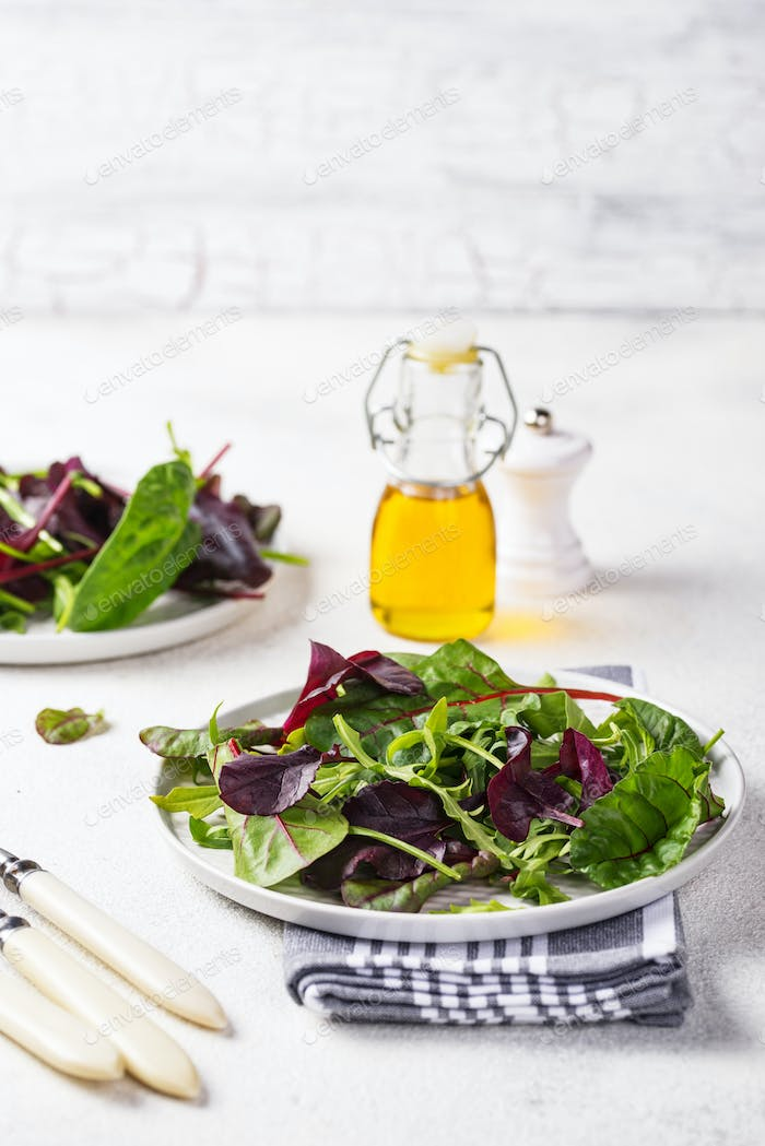 Mix of green salad leaves