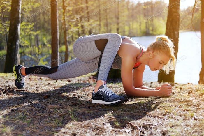 Female doing fitness exercises.