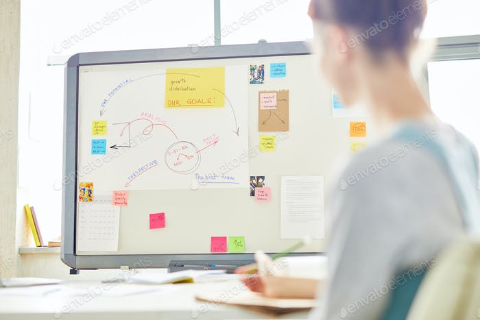 Meeting room with marketing plan on whiteboard