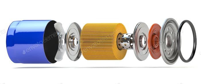 Car oil filter isolated on white. Exploded view.