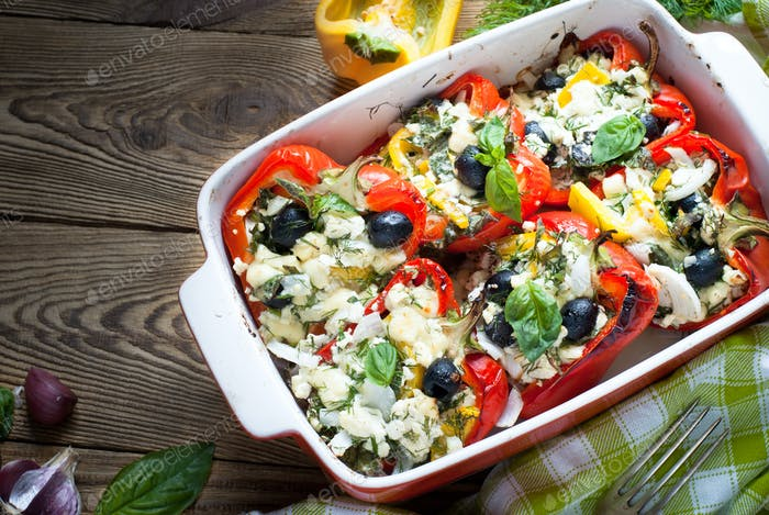 Pepper stuffed with white cheese