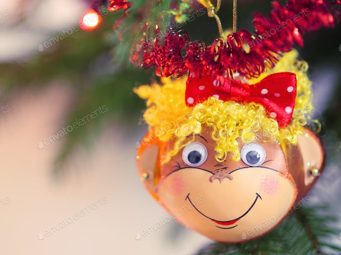 Smiling monkey christmas decoration