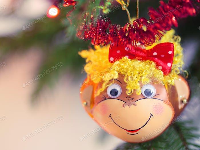Lächelnder Affe Weihnachtsdekoration