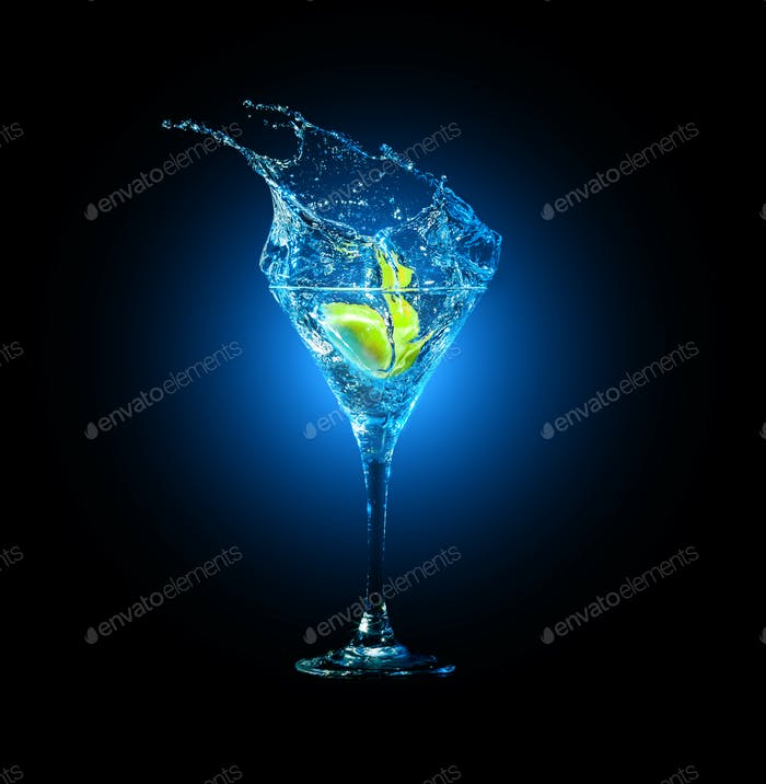 cocktail in glass with splashes