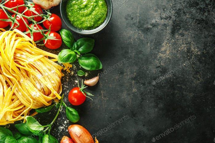 Italian food background on dark