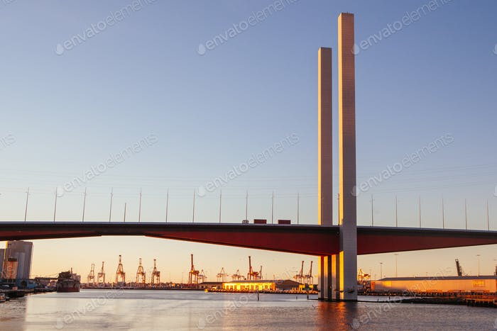 Bolte Bridge and Skyline at Dusk in Melbourne