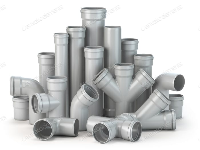 Plastic pvc pipes  isolated on the white background.