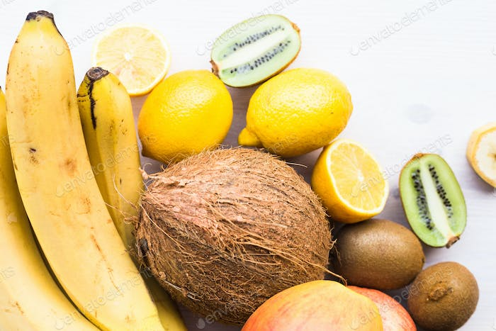 Fruit banana coconut lemon apple kiwi