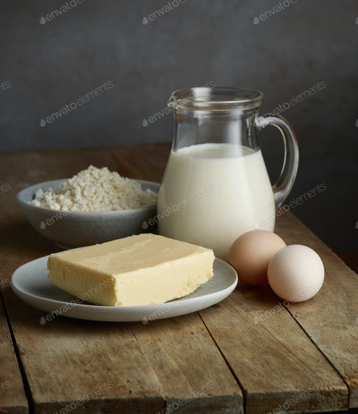 milk and various dairy products