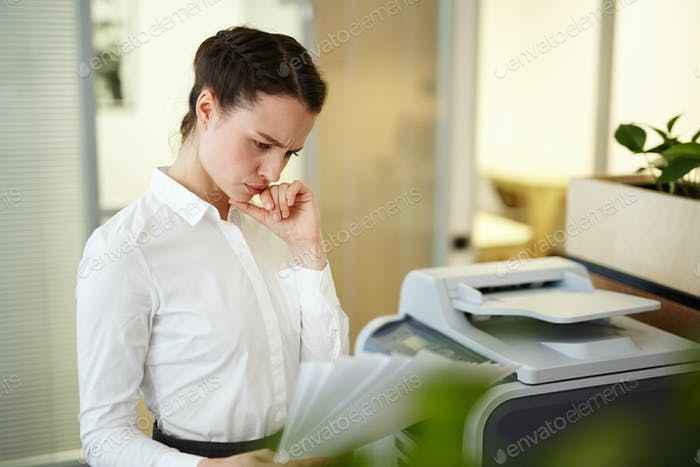 Secretary with papers